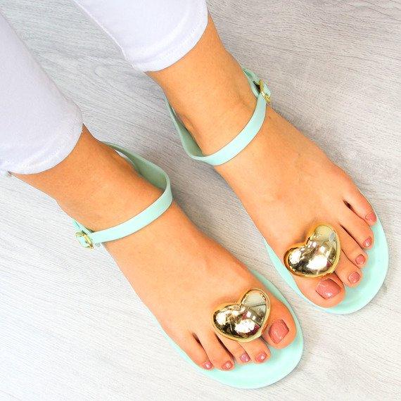Miętowe sandały japonki meliski z sercem Vices