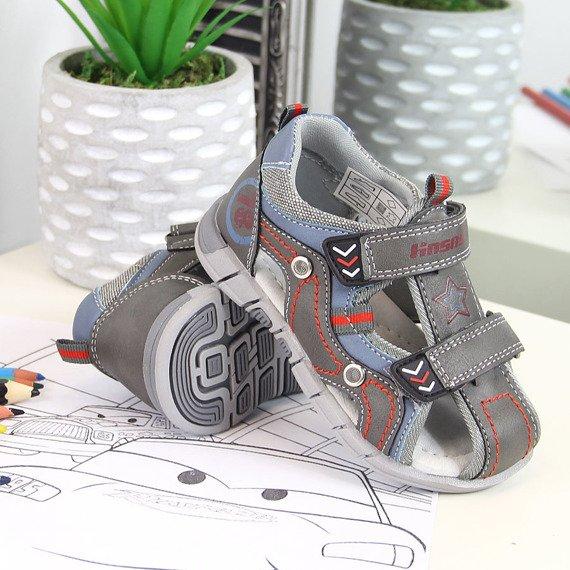 Sandały chłopięce zabudowane szare Hasby