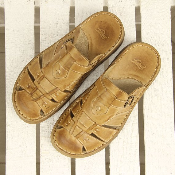 Pieczarkowe skórzane klapki męskie komfortowe Łukbut 962