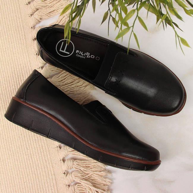 Półbuty komfortowe skórzane damskie czarne Filippo