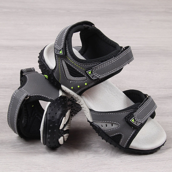 Sandały chłopięce na rzep szare American Club