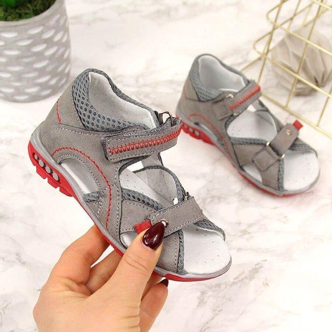 Sandały chłopięce na rzepy szare Kornecki 6166