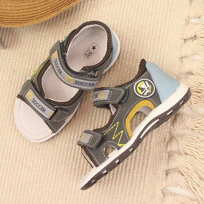 Sandały chłopięce sportowe na rzepy szare NEWS