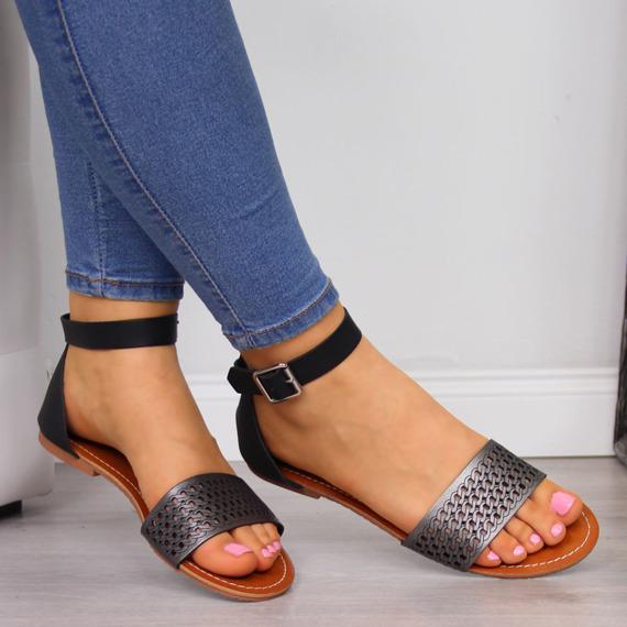 Sandały damskie ażurowe czarne eVento