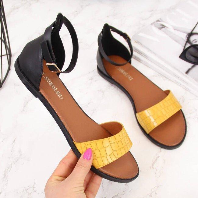 Sandały damskie czarno żółte T.Sokolski