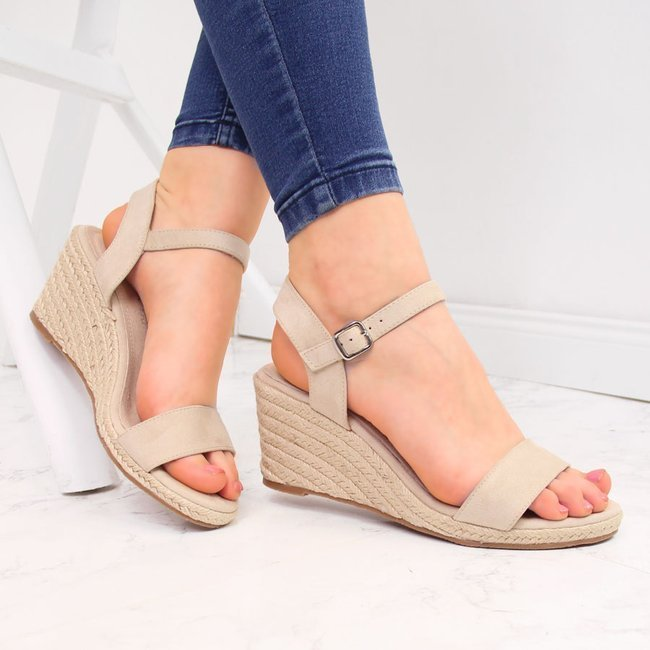 Sandały damskie espadryle na koturnie beżowe Vinceza