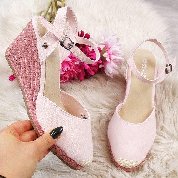 Sandały damskie espadryle na koturnie róż Big Star DD274A168