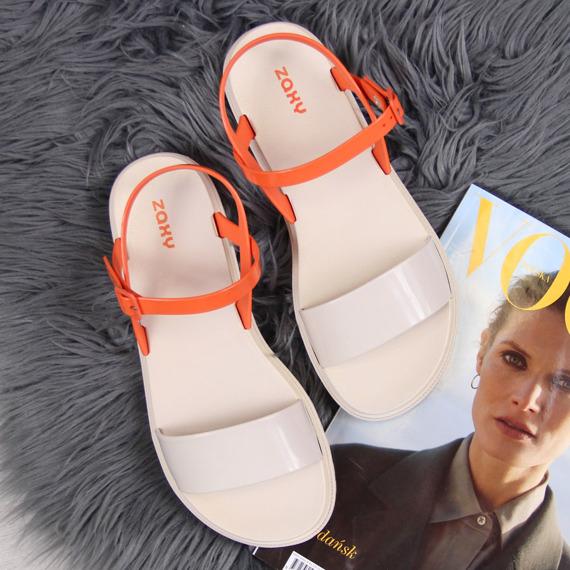 Sandały damskie gumowe beżowe pomarańczowe Zaxy