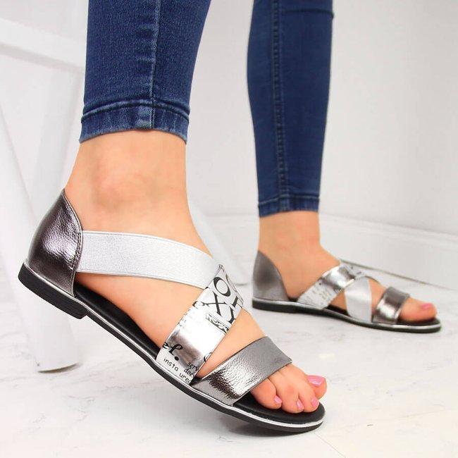Sandały damskie na gumkę srebrne Jezzi