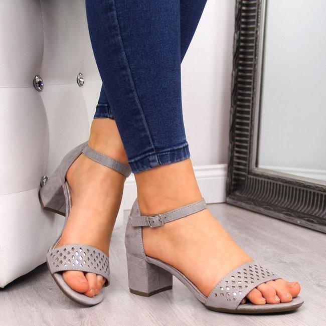 Sandały damskie na klocku szare Filippo