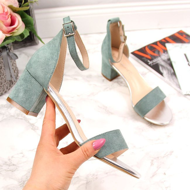 Sandały damskie na klocku turkusowe Sergio Leone