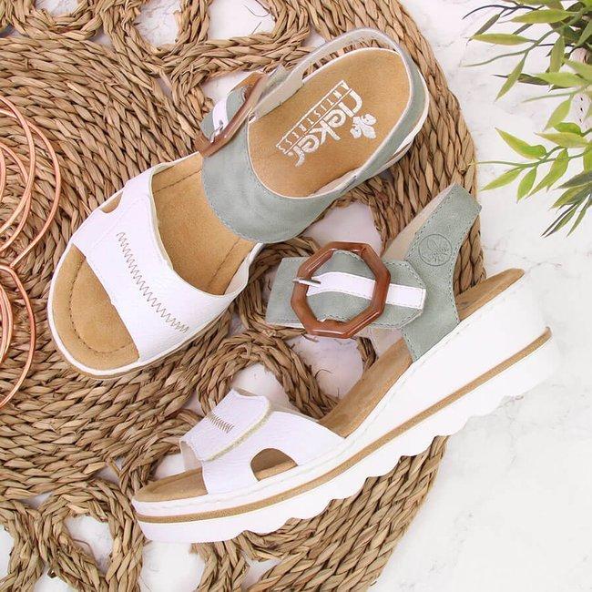 Sandały damskie na koturnie białe Rieker 67476