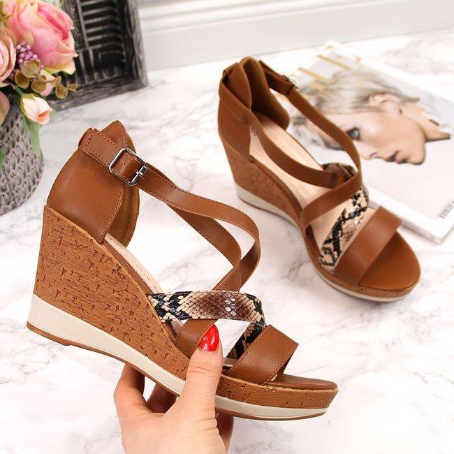 Sandały damskie na koturnie brązowe Sergio Leone