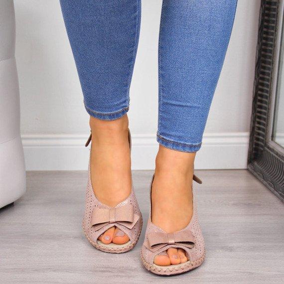 Sandały damskie na koturnie różowe Rieker 66167-31