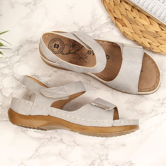 Sandały damskie na koturnie rzepy szare eVento