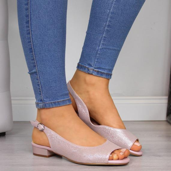 Sandały damskie na obcasie jasne różowe Sergio Leone