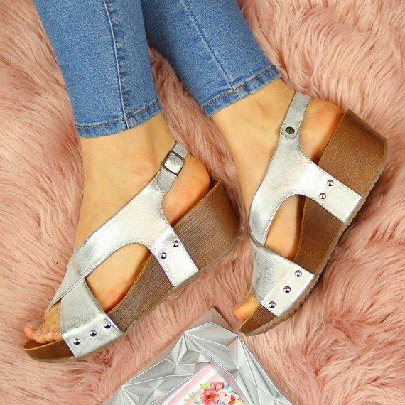 Sandały damskie na platformie srebrne Jezzi