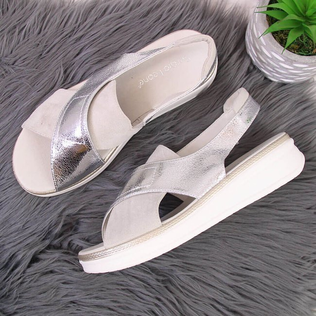 Sandały damskie na platformie srebrne Sergio Leone