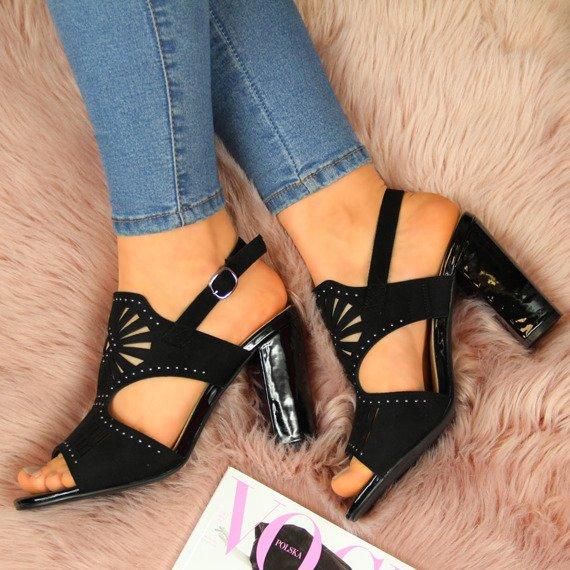 Sandały damskie na słupku ażurowe czarne Sergio Leone