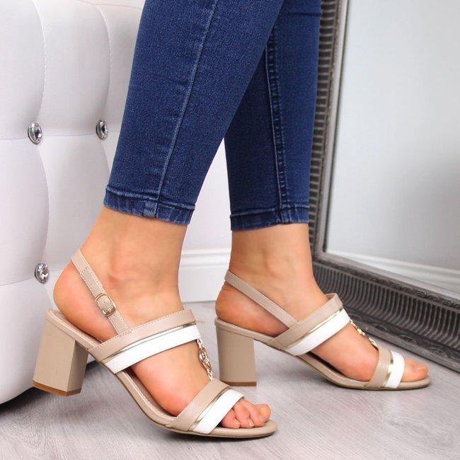 Sandały damskie na słupku beżowe Sergio Leone