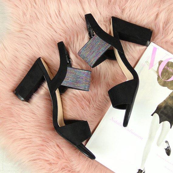 Sandały damskie na słupku czarne Sergio Leone