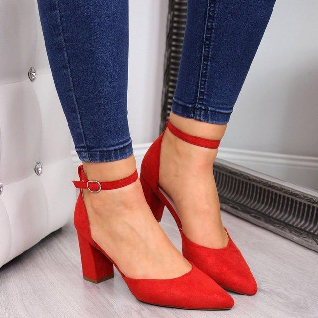 Sandały damskie na słupku czerwone z połyskiem W.Potocki