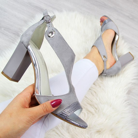 Sandały damskie na słupku szare Jezzi