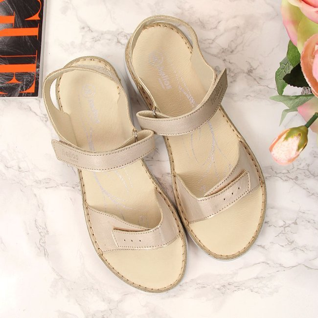 Sandały damskie skórzane Złote Helios 272
