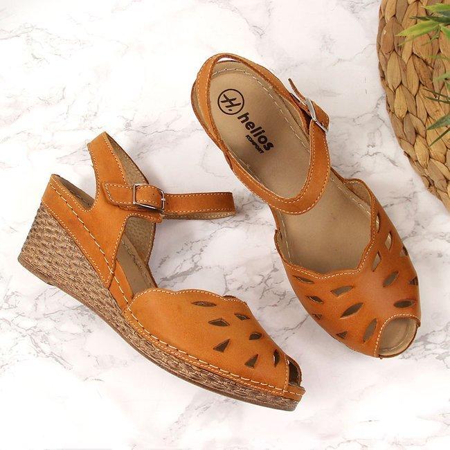 Sandały damskie skórzane na koturnie rude Helios 4023
