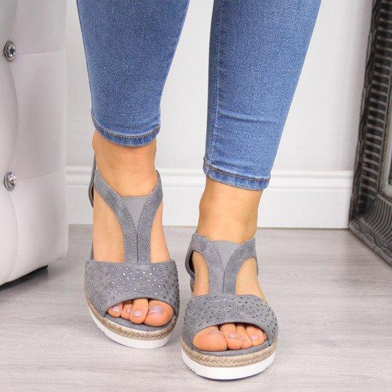 Sandały damskie skórzane szare Dolce Pietro 2214