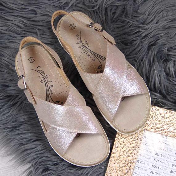 Sandały damskie skórzane złote Filippo