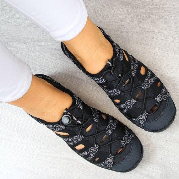 Sandały damskie sportowe granatowe Rieker L0577-15