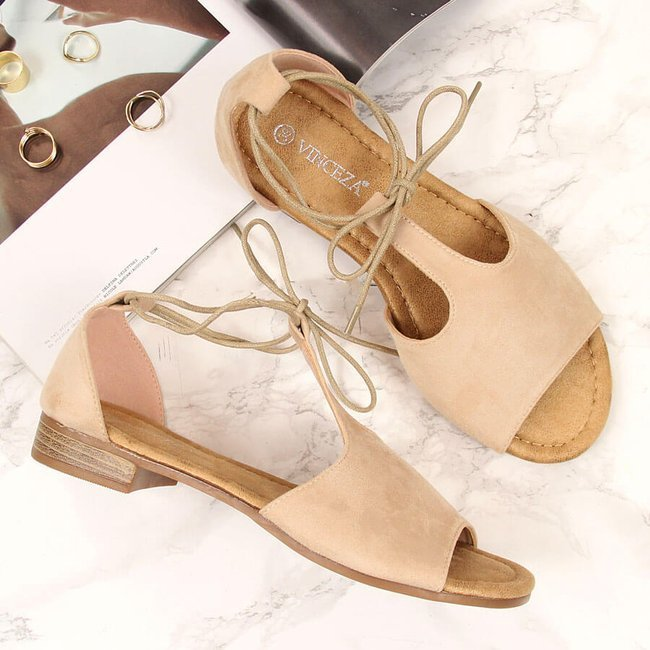 Sandały damskie sznurowane rzymianki beżowe Vinceza