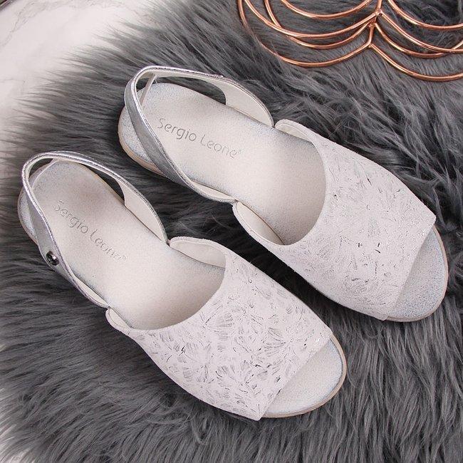 Sandały damskie w kwiaty srebrne Sergio Leone