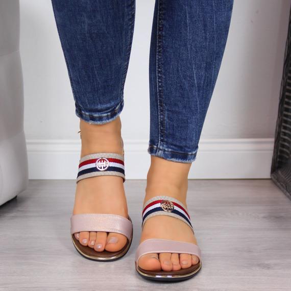 Sandały damskie w paski złote Jezzi