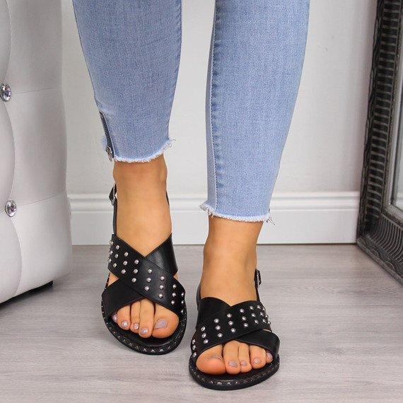 Sandały damskie z nitami czarne Filippo