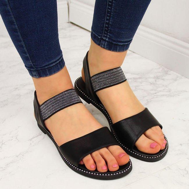 Sandały damskie z nitami na gumę czarne S.Barski