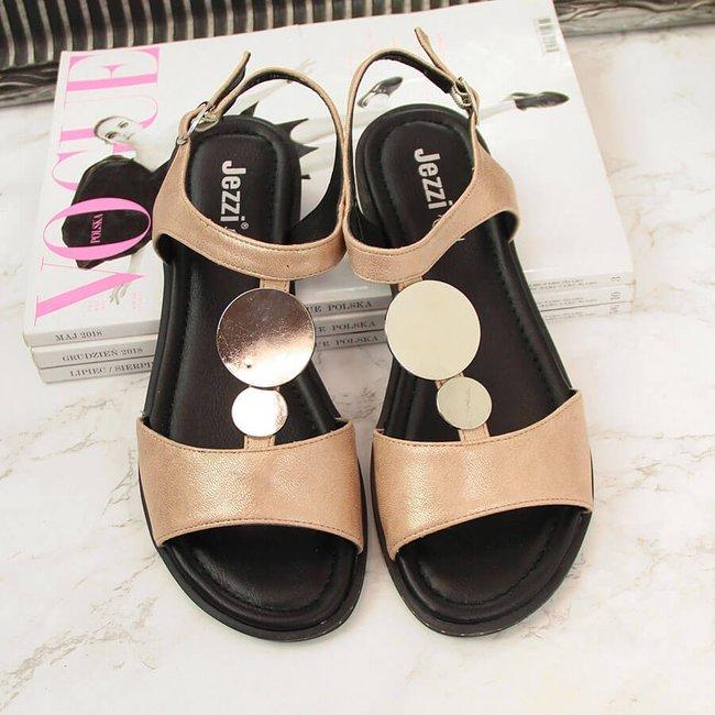 Sandały damskie z ozdobą złote Jezzi