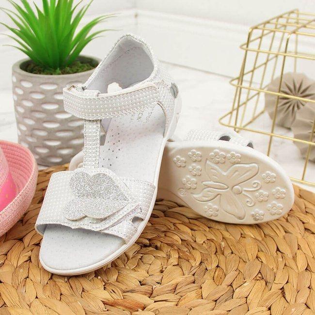 Sandały dziewczęce na rzepy białe Kornecki 6331
