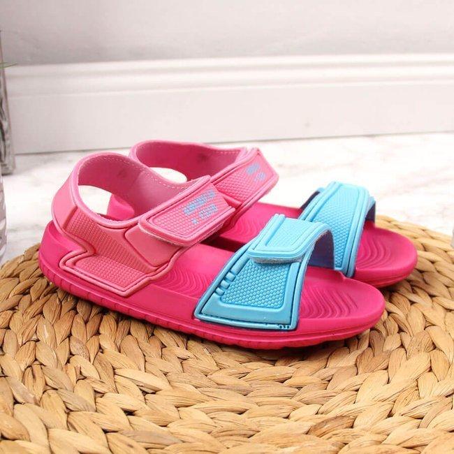 Sandały dziewczęce piankowe na rzepy różowe American Club