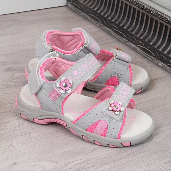 Sandały dziewczęce sportowe na rzep szare American Club