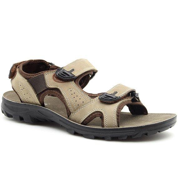 Sandały męskie skórzane na rzepy brązowe Hasby