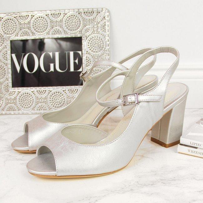 Sandały na słupku srebrne Sergio Leone