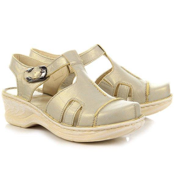 Sandały skórzane beżowe połyskujące komfortowe Łukbut 656