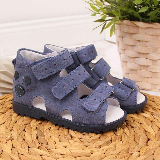 Sandały skórzane chłopięce ortopedyczne niebieskie Kornecki