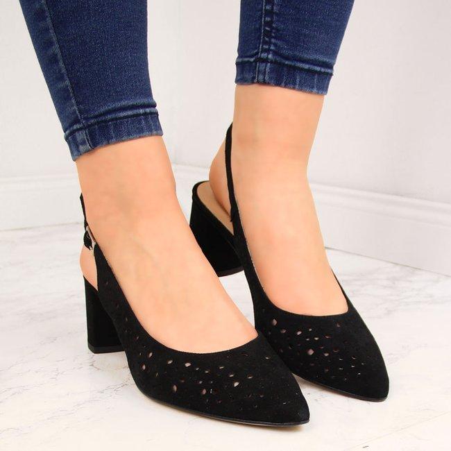 Sandały skórzane damskie ażurowe czarne Juma