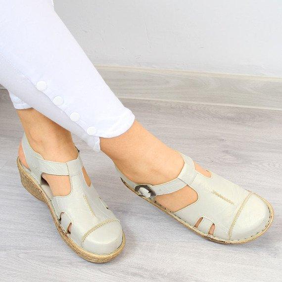Sandały skórzane połyskujące komfortowe Łukbut 656