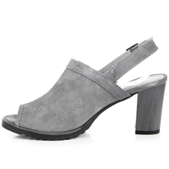 Sandały skórzane zabudowane szare Dolce Pietro