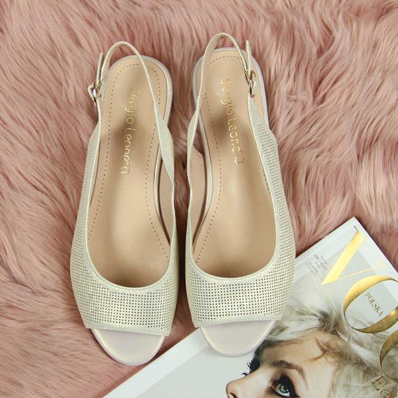 Sandały złote połyskujące Sergio Leone