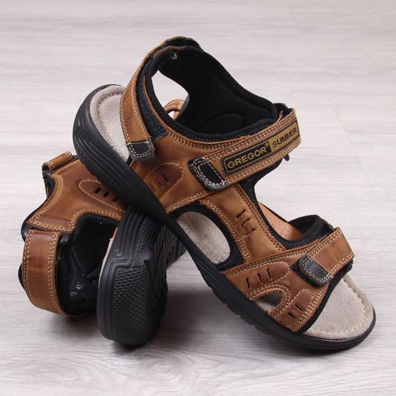 Skórzane sandały męskie brązowe na rzepy Gregor 1192